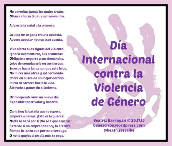 Dia Internacional para la eliminación de la violencia de género.